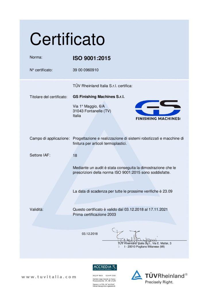 Certificato ISO 90012015