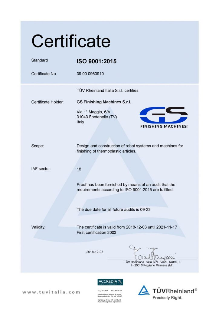 ISO 9001:2015 renewed certification